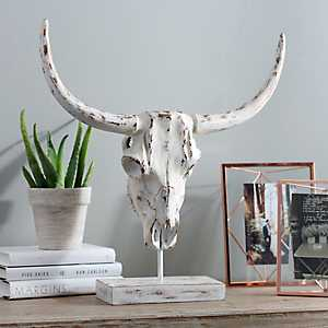 Metallic Horned Skull Statue
