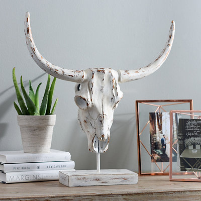 Metallic Horned Skull Statue