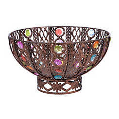 Bronze Jeweled Metal Bowl