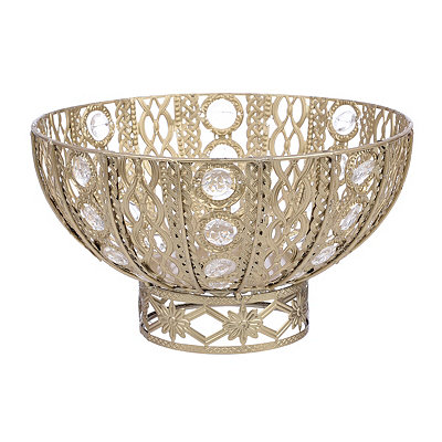 Champagne Jeweled Metal Bowl