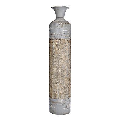 Gray Metal Burlap Vase