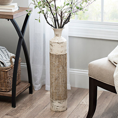 Cream Metal Burlap Vase