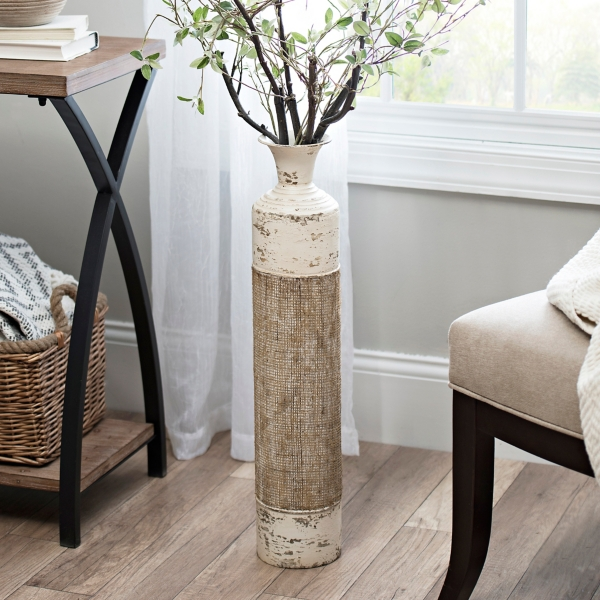 Exceptional Cream Metal Burlap Vase