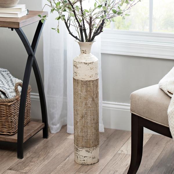 Great Cream Metal Burlap Vase