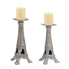 Eiffel Tower Candlesticks, Set of 2