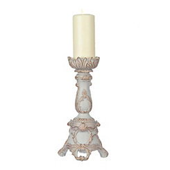 Ivory Scroll Flower Candlestick, 12.5 in.