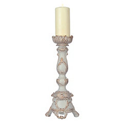 Ivory Scroll Flower Candlestick, 15 in.