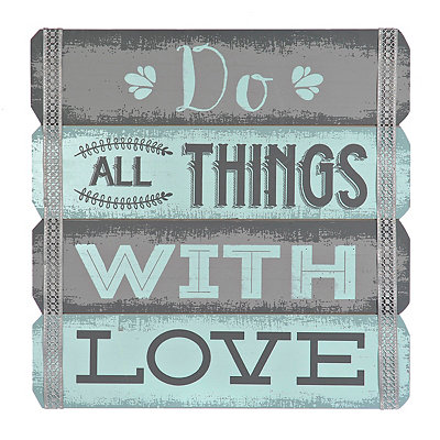 Do All Things with Love Wood Plank Plaque