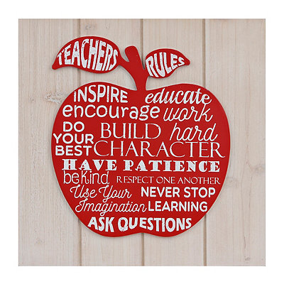 Teachers Rule Apple Wood Plank Plaque