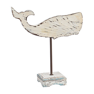Distressed White Whale Finial Statue