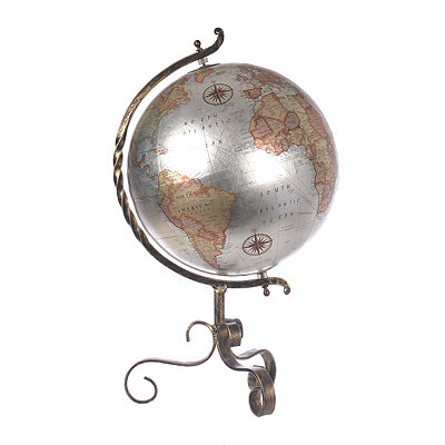 Silver Globe with Bronze Swirl Base
