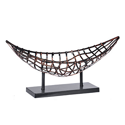 Metal Boat Bowl on Stand