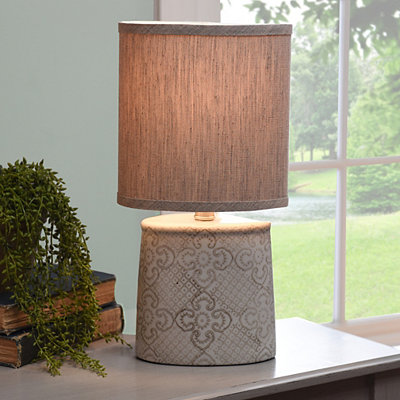 Gray and White Deco Ceramic Table Lamp