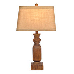Antique Brown Carved Block Table Lamp