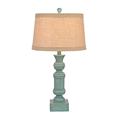 Distressed Turquoise Carved Block Table Lamp