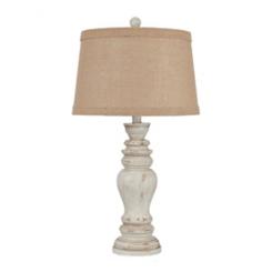 Rustic Distressed Cream Table Lamp