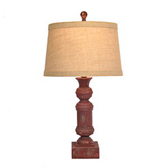 Distressed Red Carved Block Table Lamp
