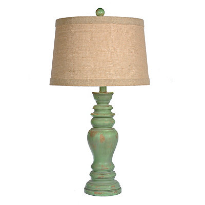 Rustic Distressed Green Table Lamp