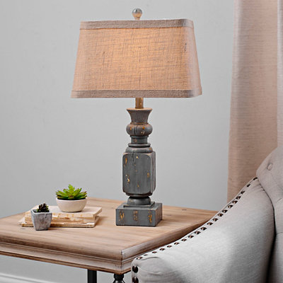 Antique Gray Carved Block Table Lamp