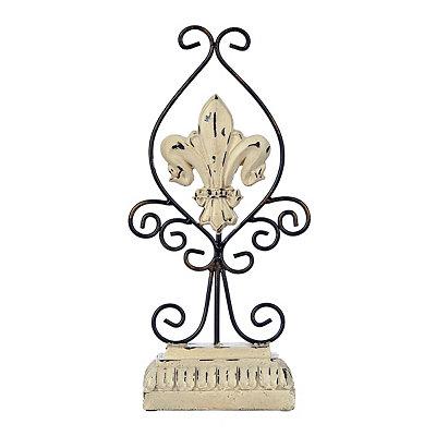 Ivory Scrolled Fleur-de-lis Finial