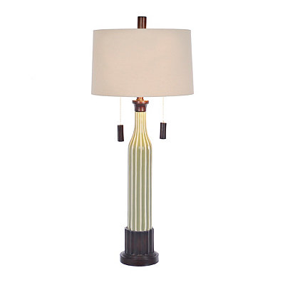 Fluted Green Ceramic Table Lamp