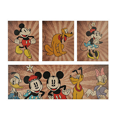 Mickey and Friends Canvas Art Prints, Set of 4