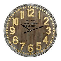 Maddie Metallic Wood Plank Clock