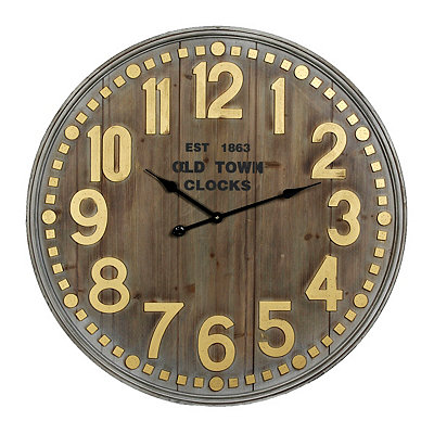 Maddie Metallic Wood Plank Clock