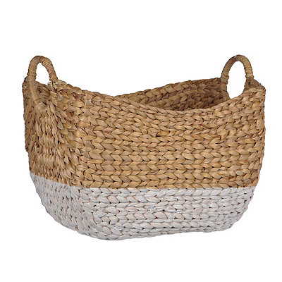 Woven Natural and White Basket
