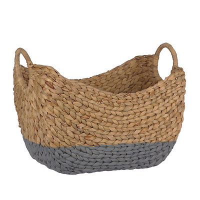 Woven Natural and Gray Basket