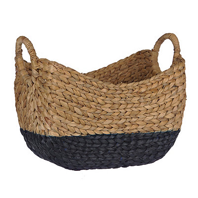 Woven Natural and Blue Basket