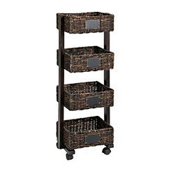 Espresso 4-Tier Chalkboard Basket Shelf