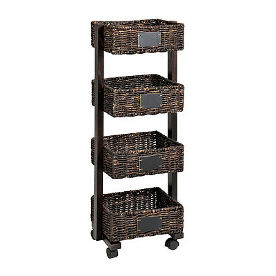 Espresso 4-Tier Chalkboard Basket Shelf