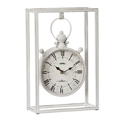 Cream Hanging Cage Tabletop Clock