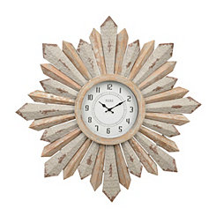Rustic Galvanized Sunburst Clock