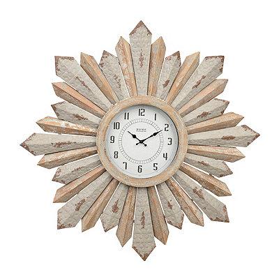 Rustic Galvanized Sunburst Clock