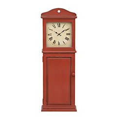 Smith Distressed Red Wall Cabinet Clock