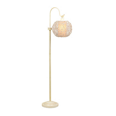 Ivory Wicker Globe Floor Lamp