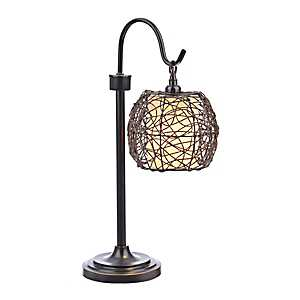 Dark Brown Wicker Globe Table Lamp