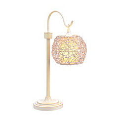 Ivory Wicker Globe Table Lamp