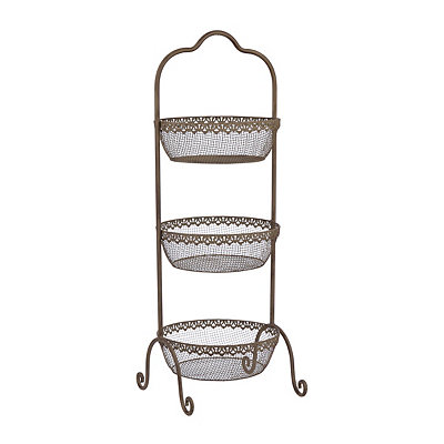 Dark Antique Cream 3-Tier Basket Tower