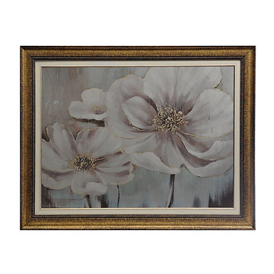 Metallic White Florals Framed Art Print