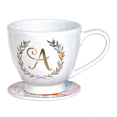Floral Laurel Monogram A Mug and Coaster Set