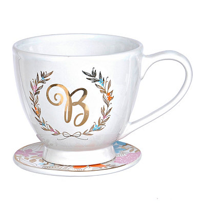 Floral Laurel Monogram B Mug and Coaster Set