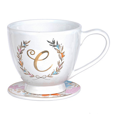Floral Laurel Monogram C Mug and Coaster Set