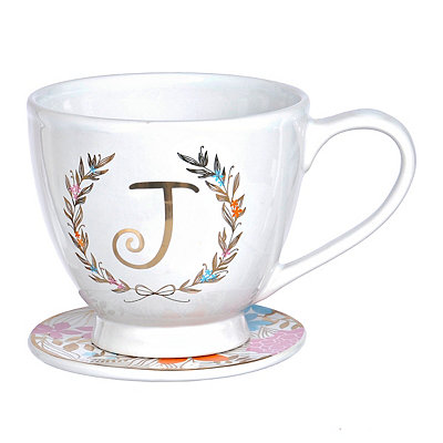 Floral Laurel Monogram J Mug and Coaster Set