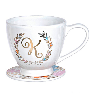 Floral Laurel Monogram K Mug and Coaster Set