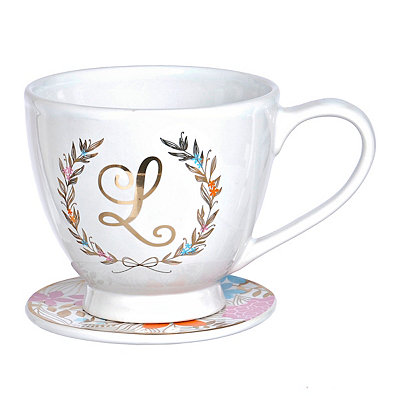 Floral Laurel Monogram L Mug and Coaster Set
