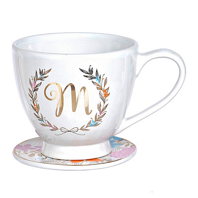 Floral Wreath Monogram M Mug and Coaster Set