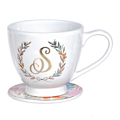 Floral Laurel Monogram S Mug and Coaster Set